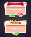 Set of cartoon windows game interface with buttons Yes, No and window victory