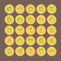 Set of Cartoon wood buttons with web icons,