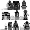 Set cartoons fairy tale drawing houses isolated white background series separate lodge Stock Photos