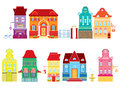 Set cartoons fairy tale drawing houses isolated white background series separate lodge Royalty Free Stock Images