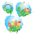 Set of cartoons fairytale drawing images houses trees rainbow isolated on white background summer time Stock Photos