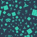 Set Casino chips, Martini glass, Deck of playing cards and Game dice on seamless pattern. Vector Royalty Free Stock Photo
