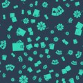 Set Casino slot machine with clover, Deck of playing cards, Wallet with money and Game dice on seamless pattern. Vector Royalty Free Stock Photo