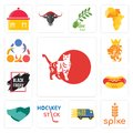 Set of cat, spike, free delivery, hockey stick, hand shaking, hot dog, black friday sale, royal lion, 3 people icons Royalty Free Stock Photo