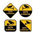Set CCTV Camera label.Black Video surveillance sign on white background. illustration Royalty Free Stock Photo