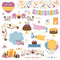 Set of celebration design elements collection decorative Royalty Free Stock Photography