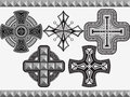 Set celtic crosses with an ornament in a vector Royalty Free Stock Image