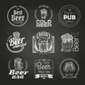 Set of chalk beer drawings. Chalk decorative labels Royalty Free Stock Photo