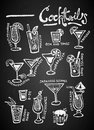 Set of chalk Cocktails on blackboard Royalty Free Stock Photo