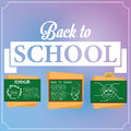 Set of chalkboards with draws vector and space for text Royalty Free Stock Image