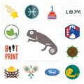 Set of chameleon, welder, f, badminton, bird nest, sawmill, boot print, democratic party, veg icons Royalty Free Stock Photo