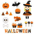 Set of character and icons for Halloween in cartoon style. Royalty Free Stock Photo