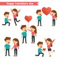 Set of characters couples happy valentines day isolated on white