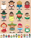 Set of characters dressed in different national costumes each character is in color versions depending on the background no Stock Images