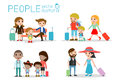 Set characters family travelers. people and kids travelling . Flat design.traveling family on vacation.Vector Illustration