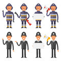 Set characters policeman and firefighter Royalty Free Stock Photo