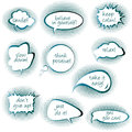 Set of chat bubbles with motivational and positive thinkiins mes messages over white background Royalty Free Stock Images