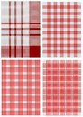 Set of checkered tablecloths white and red Royalty Free Stock Photography
