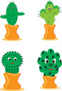 Set of cheerful cactuses Stock Image