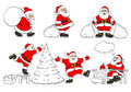 Set of cheerful christmas Santa Clauses Stock Photo