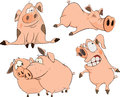 A set of cheerful pigs cartoon pink Royalty Free Stock Image