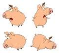 Set of cheerful pigs Cartoon