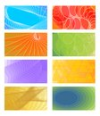 Set of cheerful vector  backgrounds for business card, flyer, leaflet, cover. Various color  red, orange, light green, violet Royalty Free Stock Photo