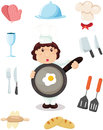 Set of chef and kitchen tools illustration isolated Stock Photography