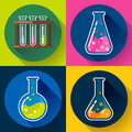 Set of Chemical lab flasks icons. Flat design style. Royalty Free Stock Photo