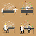 Set of chemistry laboratory with doctors vector illustration science concept Stock Images