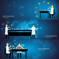 Set of chemistry laboratory with doctors vector illustration science concept Royalty Free Stock Photo