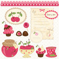 Set cherry design elements scrapbook Stock Photos