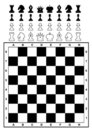 Set of chess pieces and chessboard. Stock Images