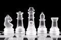 Set of chess pieces over black Royalty Free Stock Images