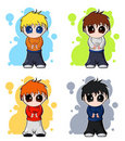 Set of chibi vector cute boys Royalty Free Stock Images
