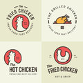 Set of chicken meat logo, badges, banners, emblem and design elements for food shop and restaurant. Royalty Free Stock Photo