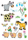 Set childish farm animals Stock Image