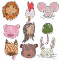 Set of childish hand drawn animal heads Royalty Free Stock Photos