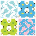 Set of childish seamless patterns with animals Royalty Free Stock Photos