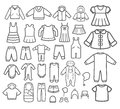 Set of children clothing vector design elements und icons Royalty Free Stock Photo