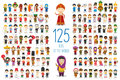 Set of 125 children of different nationalities in cartoon style. Royalty Free Stock Photo
