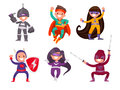 Set of children dressed in superhero costumes on a white backgro