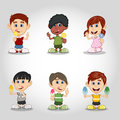 Set of children eating candy and ice cream cartoon