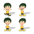 Set of children give a smile, waving and running vector illustration Royalty Free Stock Photo
