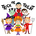 Set of Children in halloween costumes. Royalty Free Stock Photo
