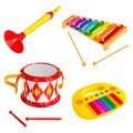 Set of children`s toy musical instruments, isolated on white background