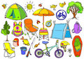 Set with children`s trekking in the forest, fishing, picnic. Doodle vector Royalty Free Stock Photo