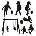Set of children silhouettes. Stock Photography