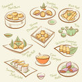 Set of chinese food line drawing cantonese cuisine guangdong morning tea vector dim sum icons names dishes by handwriting file is Stock Images