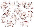 Set of chinese horoscope animals with corresponding hieroglyphs zodiac emblems as ink line drawing icons calligraphic for each Stock Photography